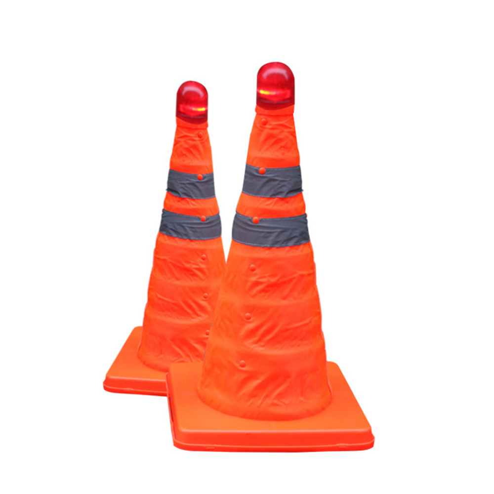 32cm Reflective Oxford Fabric PP Folding Road Cone Barricades Traffic Cone Traffic Facilities Without Top Light Traffic Safety