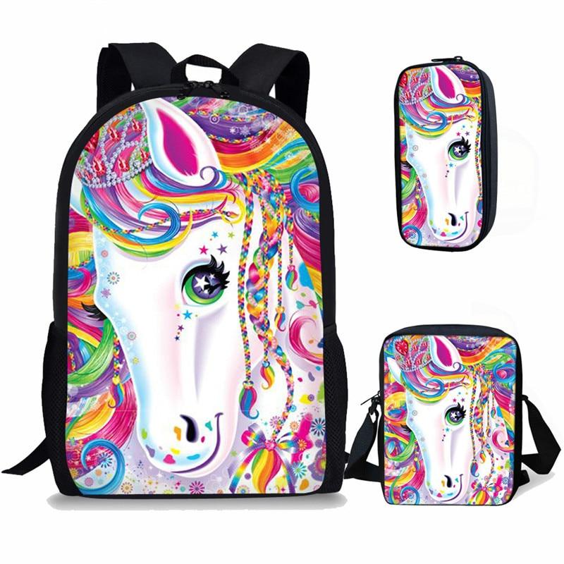 60a1de392b4f THIKIN милый рисунок единорога печать сумки на плечо для подростков 3  шт./компл.