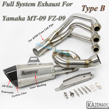 MT09 Motorcycle Full System Exhaust Modified Front Middle Link Pipe Carbon Muffler DB Killer Slip-On For YAMAHA MT-09 FZ09 FZ-09