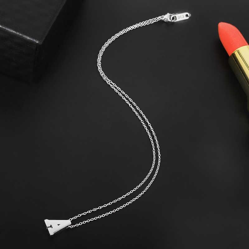 FYSARA 26 Inicial Minúscula Alfabeto Carta de Amor Pingente de Colar Curto Feminino Curto Colares Cor Prata Jóia de Aço Inoxidável