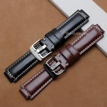 24mm * 16mm hombres mujeres negro de cuero verdadera marrón hecho a mano gruesa correa de la venda de reloj de pulsera banda cinturón polaco hebilla para garmin vivoactive
