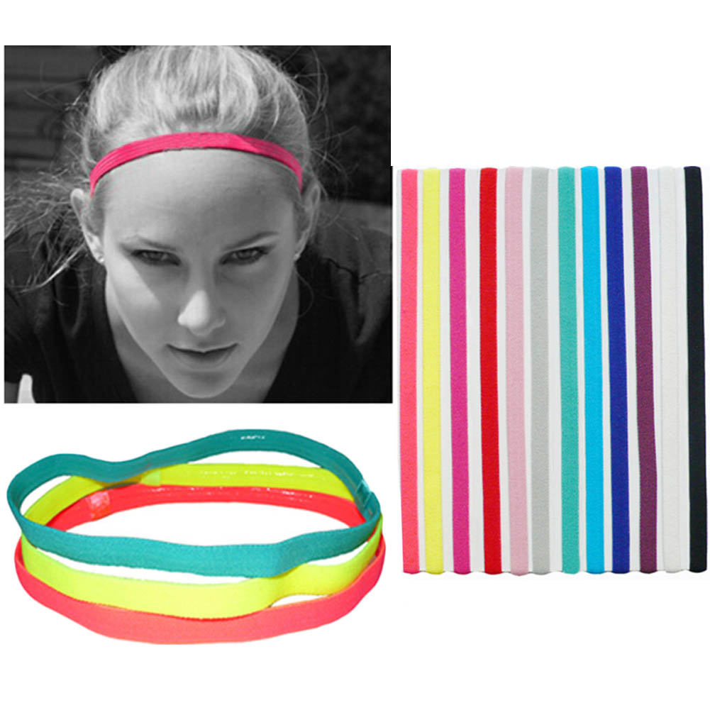 Women Men yoga hair bands Sports Headband Anti-slip Elastic Sweatband Football Yoga Running biking ...