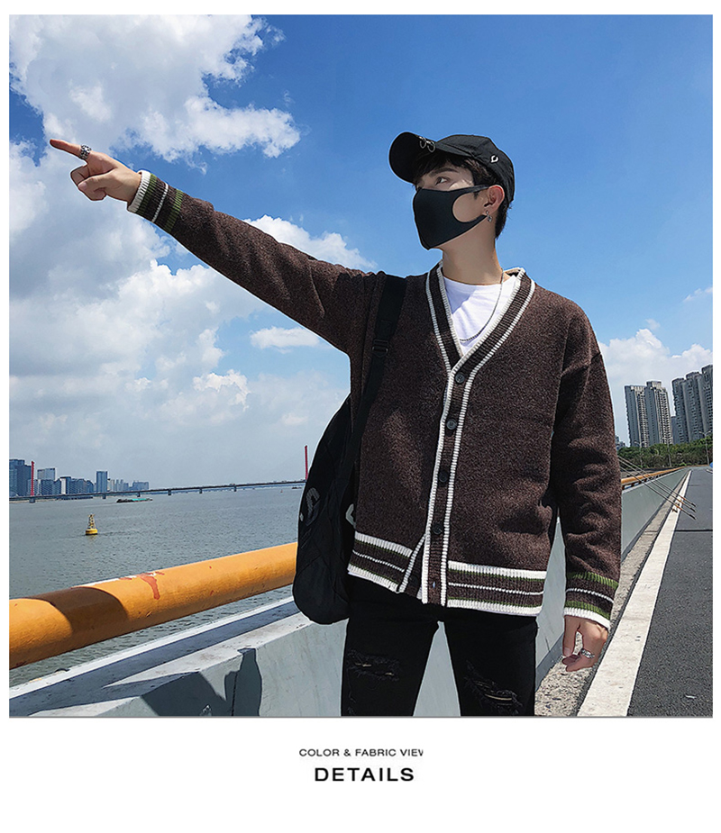 Check Button Cardigan Male Oversize Loose Streetwear (29)