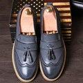 Англии мужская мода свадьба платье из натуральной кожи баллок обувь резные brogue оксфорды обуви кисточкой скольжения на плоские мокасины человек