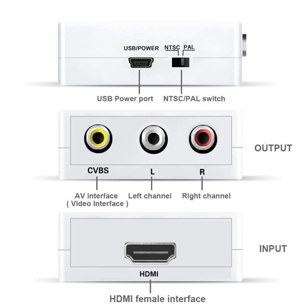 1080P Mini HDMI to VGA to RCA AV Composite Adapter Converter with 3.5mm Audio cable VGA2AV / CVBS + Audio to PC HDTV Converter