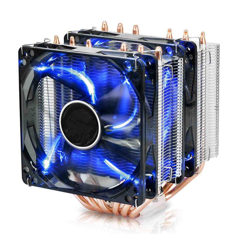 Для Intel AMD I5 I7 AM3 + 115×6 медные тепловые трубки компьютер Процессор радиатора Desktop 4PIN ШИМ LED Fan Радиатор башня