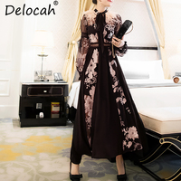 Delocah Autumn Women Dress Runway Fashion Designer Long Sleeve Gorgeous Embroidery Feathers Casual Modern A Line Long Dress