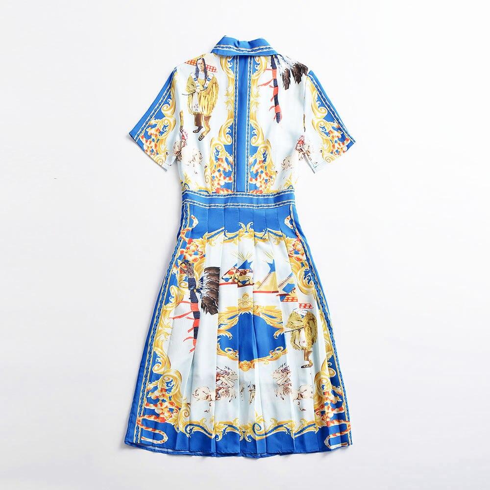 Robe Haute Chaude Turn Vintage down Rétro Courtes Mode Nouveau Femmes Qualité À Manches Jolie Femme Imprimer Collar EDH2I9