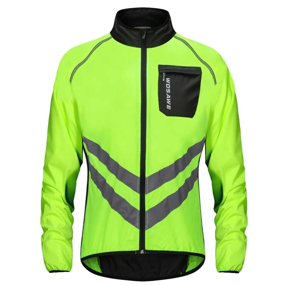 Wosawe Hoge Zichtbaarheid Fietsen Mannen Windjack Waterdichte Licht Gewicht Veiligheid Fietsen Jacket Regenjas Mountainbike Kleding