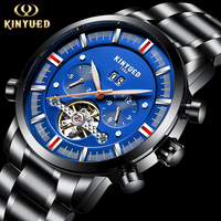 KINYUED Top Brand Mens Tourbillon Automatic Watch Men Calendar Steel Mechanical Watches Skeleton Steampunk Relogio Masculino