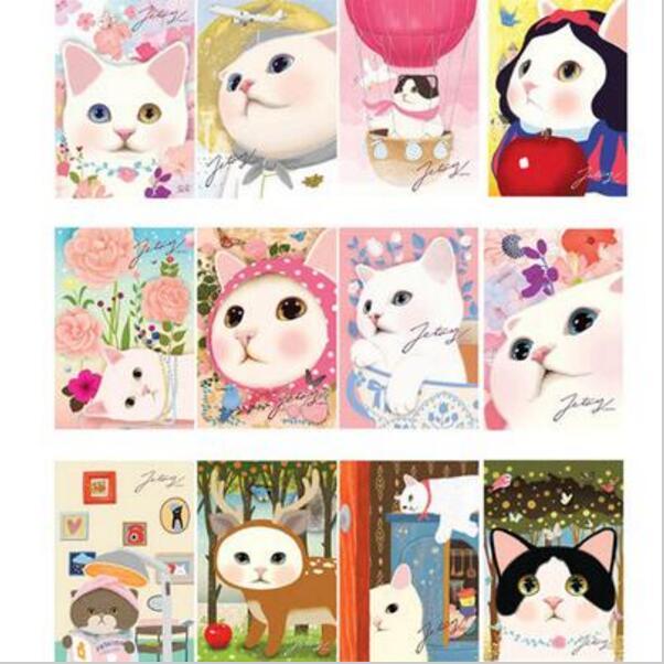 unidslote vintage lindo gatos choo grupo postales de dibujos animados tarjeta de navidad
