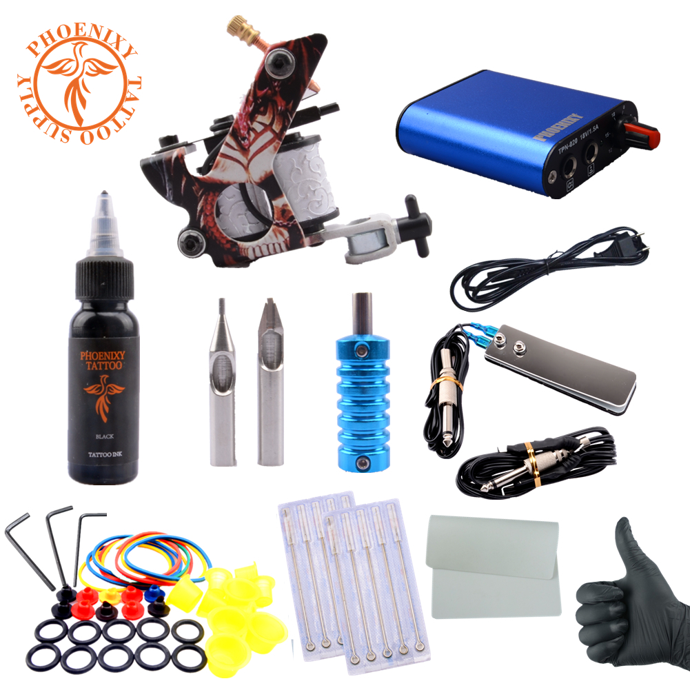 Complete Tattoo Kit Professional Beginner Machine Set 8 Wrap Coils Tattoo Gun Pigment Induction Tattoo Power