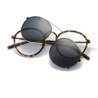 49-22-134 Nouveaux hommes de miroir cadre lunettes rétro punk rock trendsetter ensemble de lentille clip type myopie lunettes de soleil cadre 99026