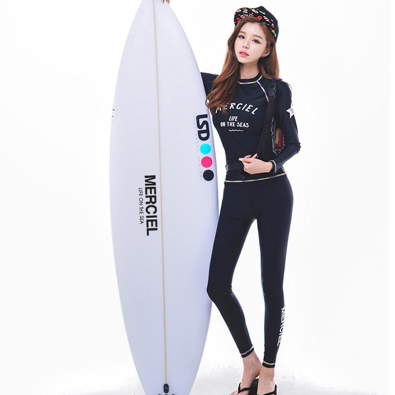 150d65bb8d Two Piece Set Rash Guard Womens Long Sleeve Shirt Leggings Black Letter  Printed Full Sun