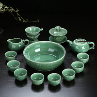 Genuine Cyan Porcelain Tea Set Gift Blue and White Ceramic Tea Sets Kung Fu Tea Pot Cups Set With Tea Cup Wash Bowl Set