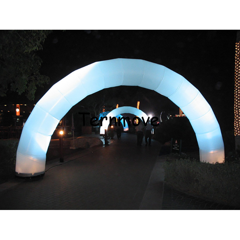 white Inflatable arch with led lighting,Giant Round lighting Inflatable Archway For Night Event race,inflatable airgate tent outdoor commercial use giant inflatable double lane water slide with arch