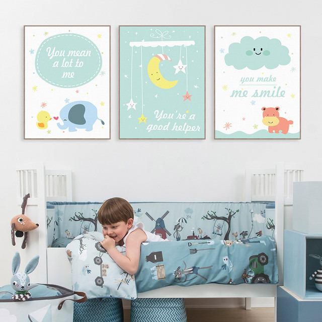 Kawaii Animals Hippo Moon Quotes Canvas Art Print Poster Nursery Wall Picture Kids Baby Room Decor Painting No Frame