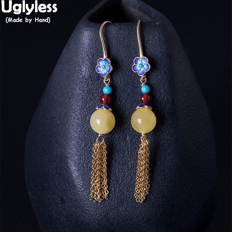 Uglyless 100% réel 925 en argent Sterling chaînes ethniques gland boucles d'oreilles pour les femmes ambre boucles d'oreilles émail bleu fleurs Brincos Bijoux