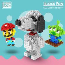 LOZ 다이아몬드 블록 개 모델 만화 동물 완구 세트 액션 그림 플라스틱 Mirco 벽돌 어린이 조립 완구 어린이 DIY 9330