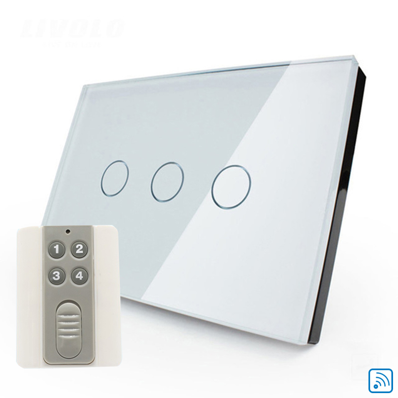 Free shiping remote control touch light switch wall switched EU standard 3gang white crystal glass panel smart with LED free shipping wall light remote control touch switch us standard gold crystal glass panel with led 50hz 60hz