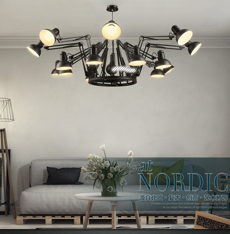 Vintage clothing store office chandelier bar and restaurant industry creative personality spider telescopic Iron Chandelier
