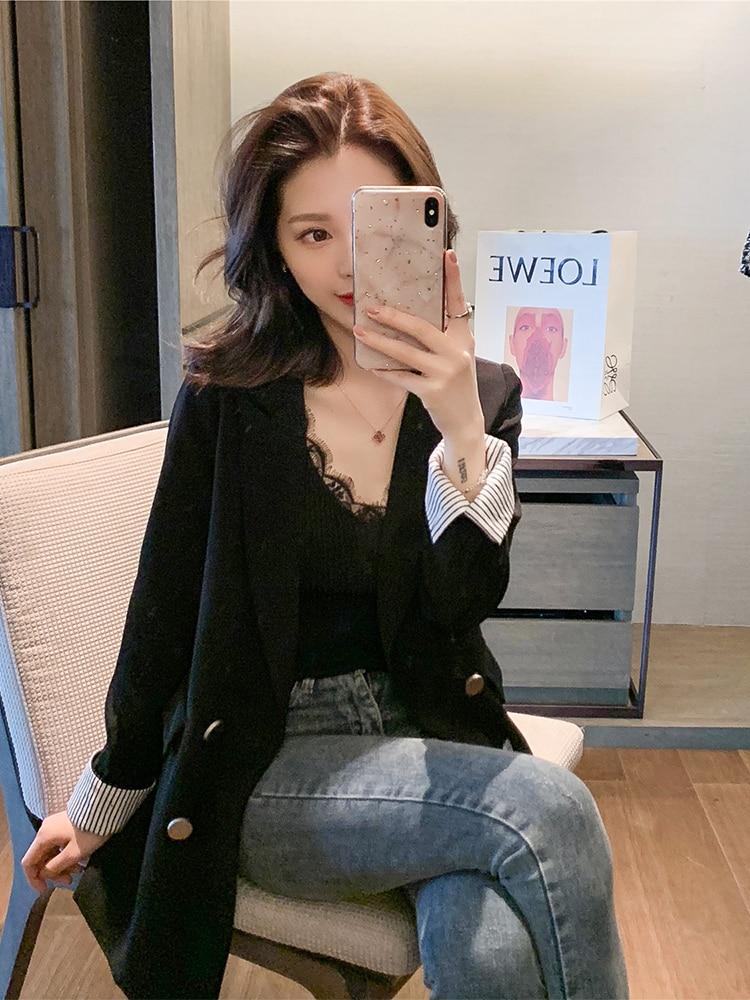 Spring 2019 NEW Women Slim Blazer Suit Casual Solid Color Office Lady Blazer Suit Coat