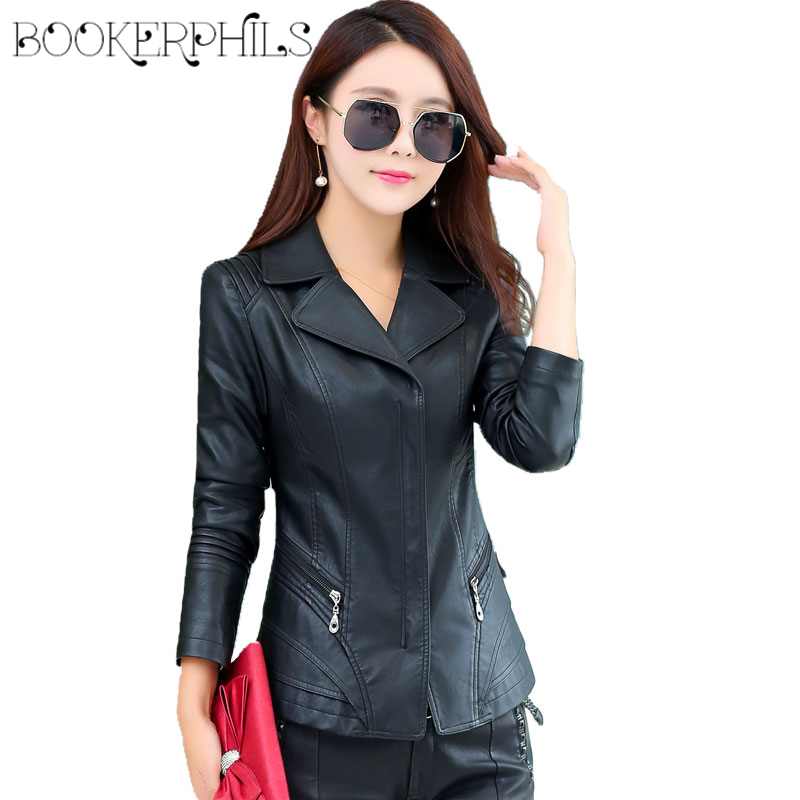2019 Autumn Winter Women's   Leather   Jacket Plus Size Casual Long Sleeve Black Coat Female Slim PU Faux   Leather   Coat Outerwear 4XL