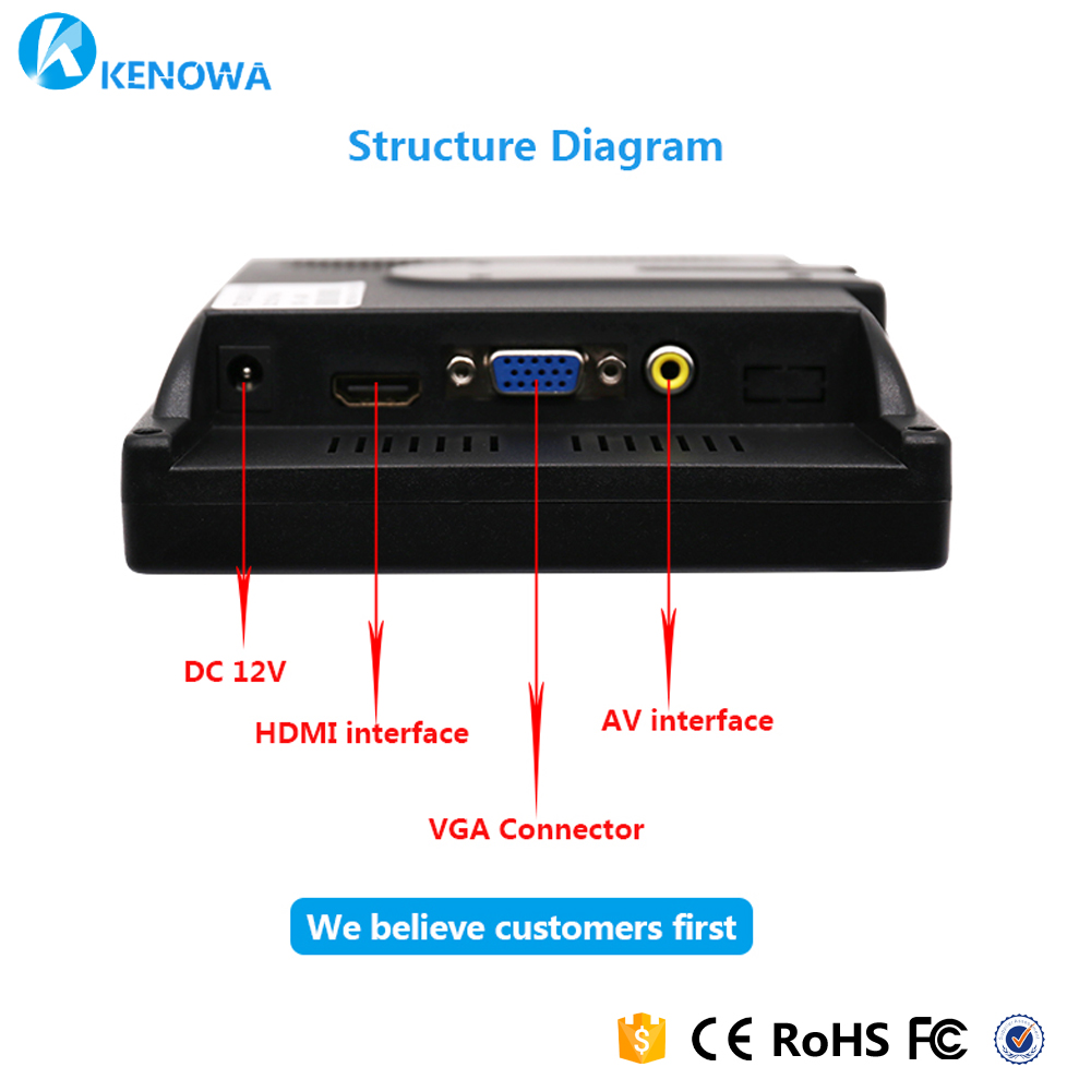 7 Inch Mini Portable 1024x600 Monitor Tft Lcd Cctv Computer Circuit Diagram With Av Vga Hdmi Input Built In Speaker And Headphone Jack Monitors From