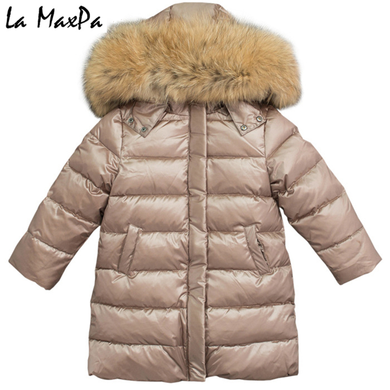 купить 2018 winter down jacket parka for girls boys coats , 90% down jackets children's clothing for snow wear kids outerwear & coats по цене 8305.04 рублей