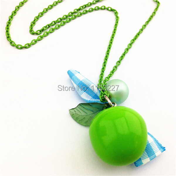 Vintage style apple shaped outdoor fun & sports necklace jewelry