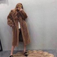 2018 зимнее пальто с мехом плюшевый медведь коричневый флисовые куртки женская модная верхняя одежда женские ворсистый жакет толстое теплое