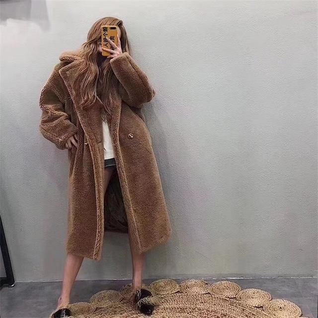 312a2686a 2018 Winter Fur Coat Teddy Bear Brown Fleece Jackets Women Fashion Outerwear  Female Fuzzy Jacket Thick Overcoat Warm Long Parka