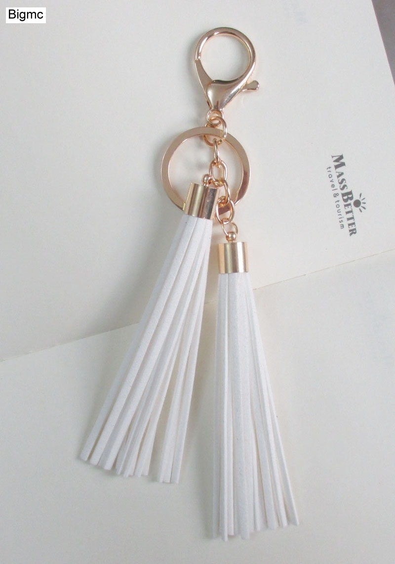 New Women Tassels Key Chain Fashion 12 colors suede leather Car Key ring charm bag keychain best gift jewelry 17013