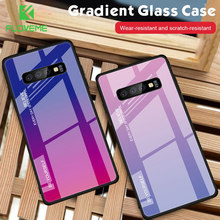FLOVEME Phone Case For Samsung Galaxy S10 S9 S8 Plus S10e Gradient Cover For Note 9 8 A5 2017 Tempered Glass Case Coque(China)