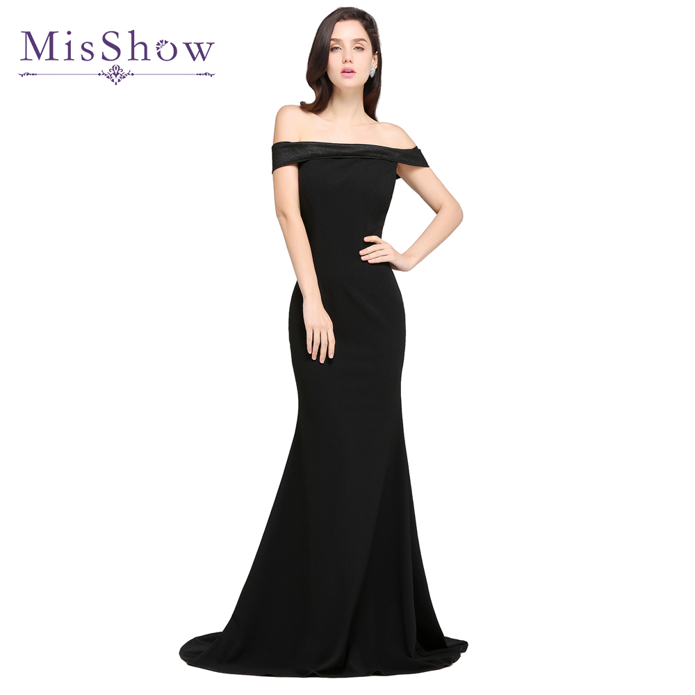 2018 New Arrival Cheap Black Long Evening Dresses Off the shoulder ...