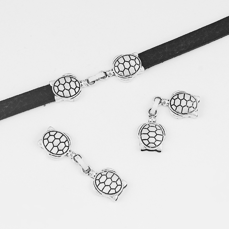 5pcs Charms Turtle Snap Clasp For 10*2mm Flat Leather Cord Bracelet Necklace Jewley Making Accessories 56mm