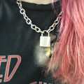 2019 Punk Rock Men Women Stainless Steel Lock Pendant Choker Unisex Gothic Necklace in Choker Necklaces from Jewelry Accessories