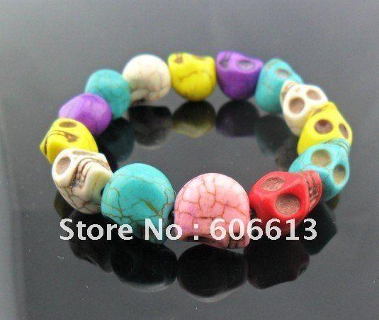 12mm Multi-color turquoise  skull beads bracelets,color natural stone skull bracelet ,12pcs/lot, free shipping