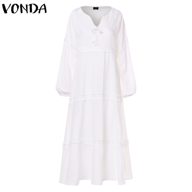 VONDA 5XL Bohemian Maternity Dress Woman Autumn V Neck Hollow Out Long Lantern Sleeve Loose Dresses Casual Solid Color Vestidos