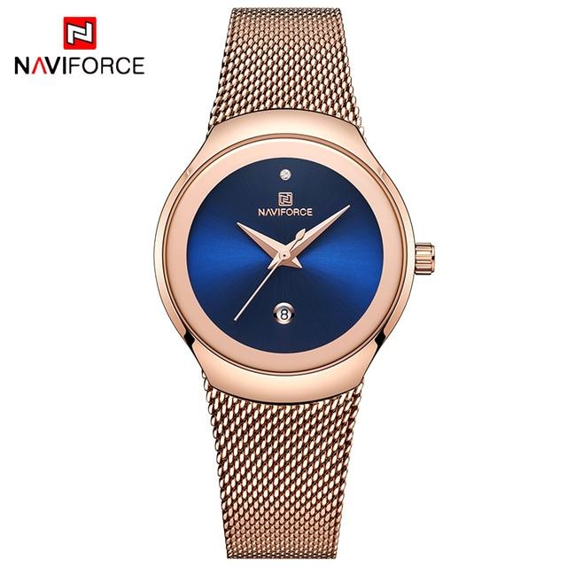 NAVIFORCE Women's Luxury Brand Fashion Dress Ladies Full Steel Mesh Strap Waterproof Quartz Watches 1