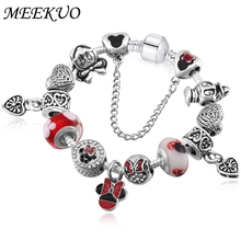 High Quality Fashion Jewelry Cute Mickey pan bracelet for Women Girls DIY Beads for Women Bracelet Pulseira BL096