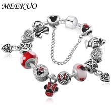 Фотография High Quality Fashion Jewelry Cute Mickey Charm bracelet for Women Girls Fashion DIY Beads for Women Bracelet Pulseira BL096