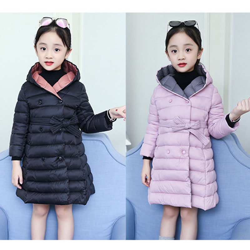 fashion bow belt hooded long children winter padded girls cotton jackets for kids outerwear coats clothing warm parkas for girl cotton padded warm winter coat girls jackets 2018 teen children clothes long baby coats for kids outerwear blue grey clothing