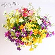 Un mazzo 7 ramo 28 teste carino margherita di seta fiore decorativo artificiale Bouquet di fiori da sposa fai da te decorazione della tavola della stanza di casa
