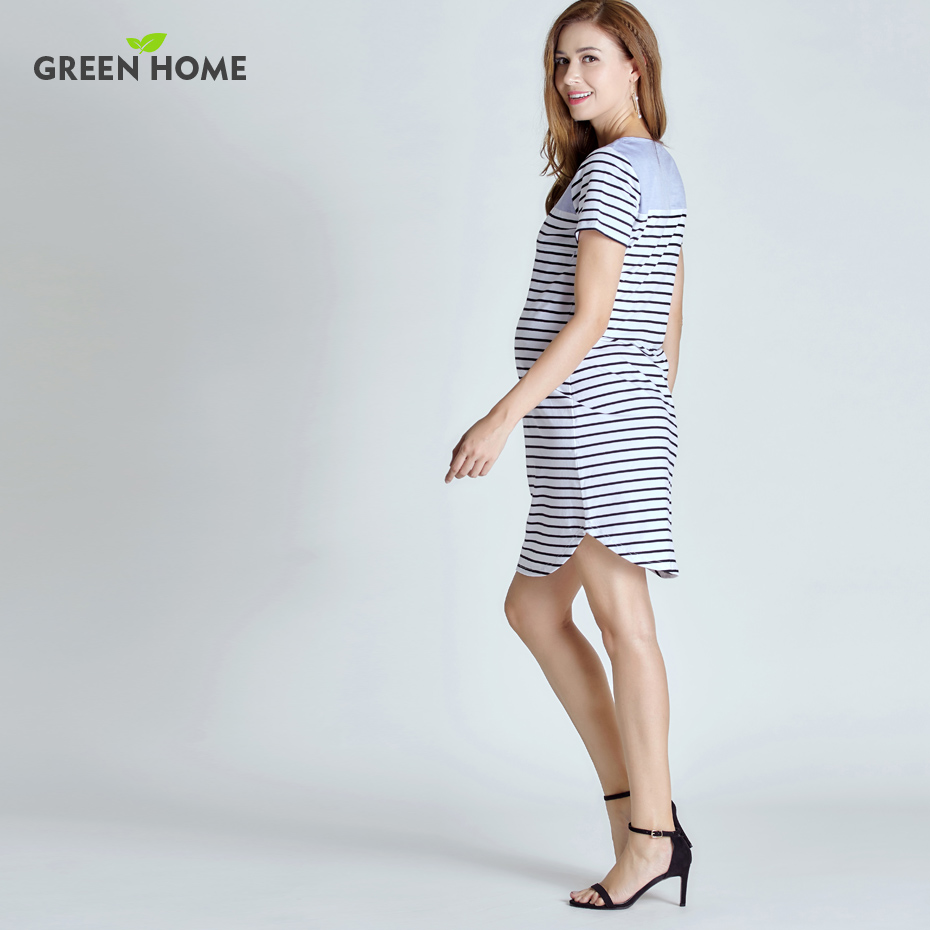 Grün Hause Mutterschaft Kurzarm Sommer Kleid Stripped ...