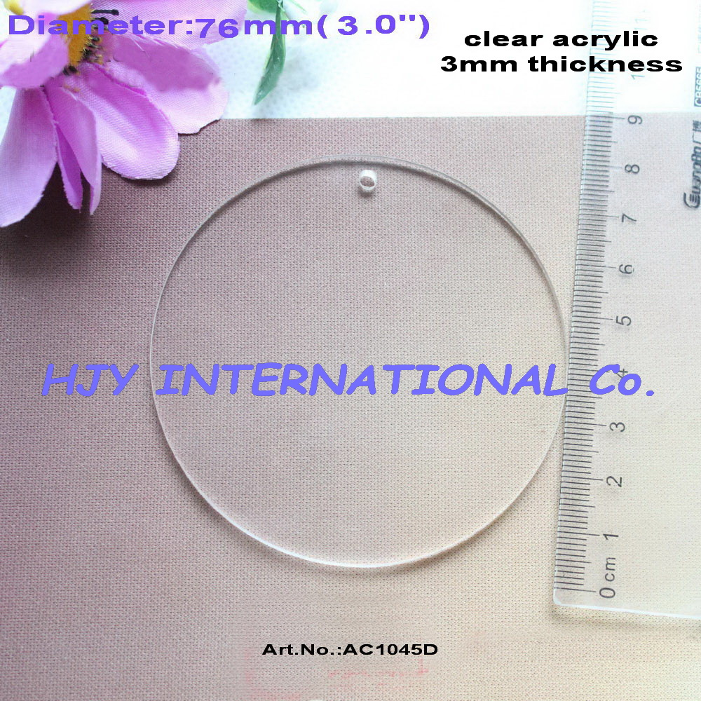 Acrylic clear ornaments -  10pcs Lot 76mm Blank Clear Acrylic Circle Necklace Discs Key Chain Ornaments 3 Ac1045d