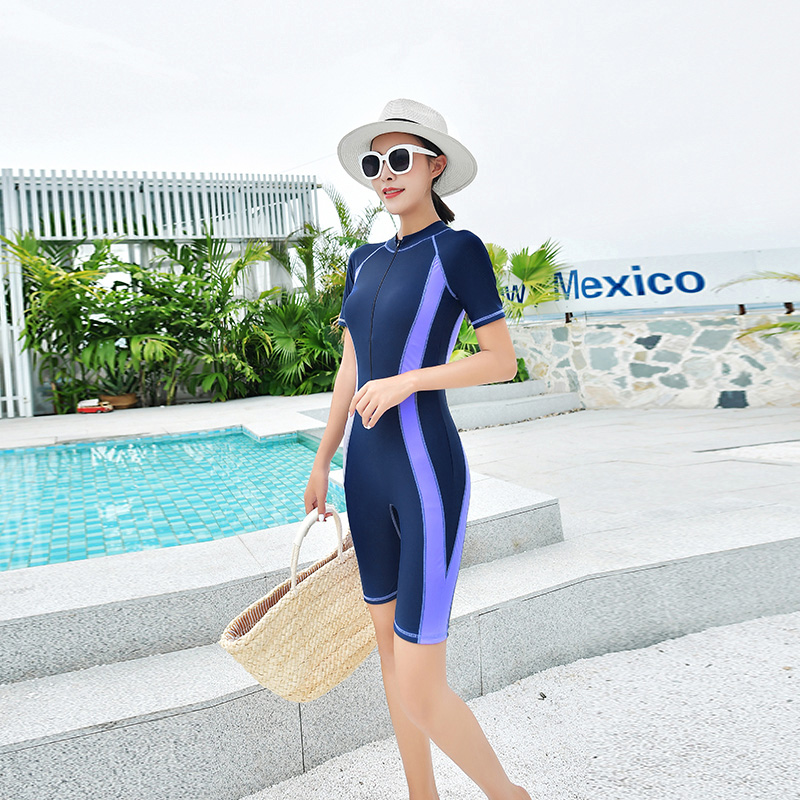 Sport Short Sleeve Swimwear Big Size Bodysuit Women Monokini Swimsuits L-6XL Mid Leg Boyshorts Bathing Suit New Beachwear