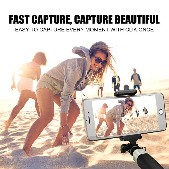 TOMKAS New Selfie Stick For Xiaomi Huawei Samsung Mobile Phone Foldable Portable Monopod Universal Mini Selfie Stick With Button