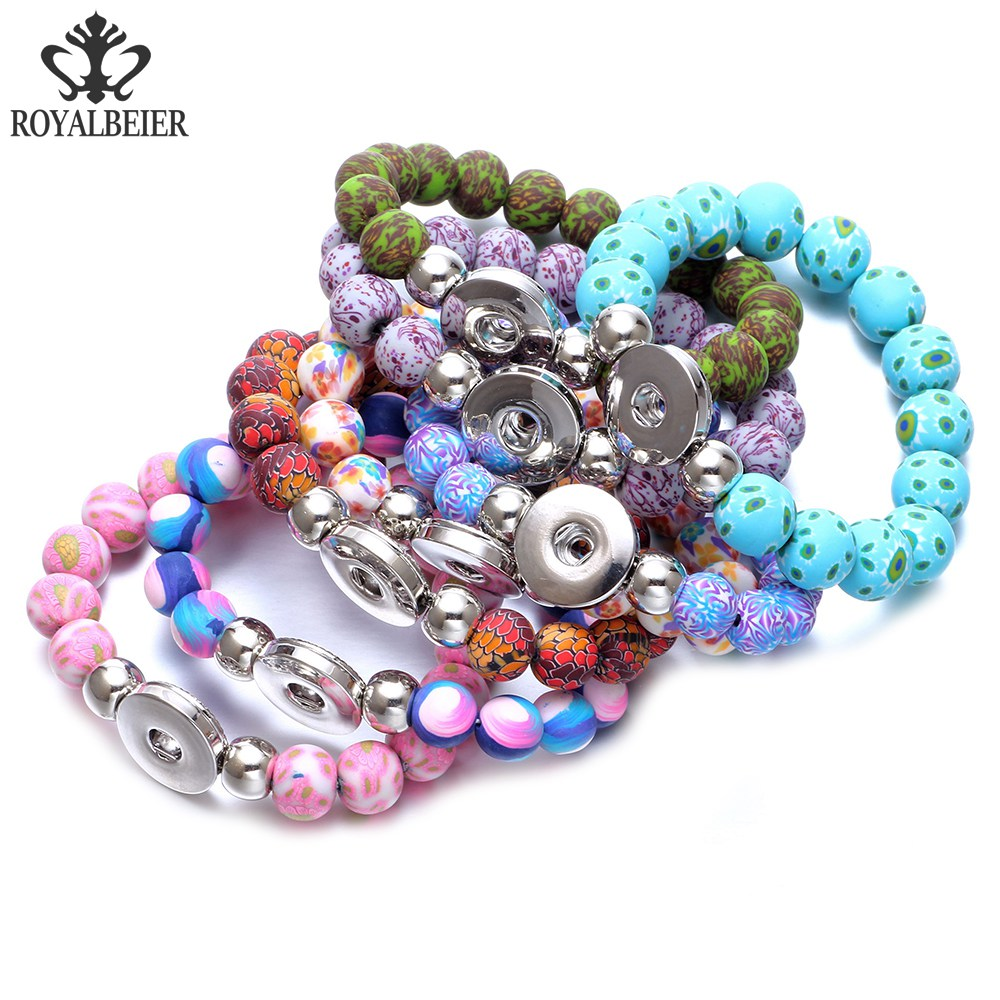 RoyalBeier 8pcs Mixed Soft Clay Stretched Beaded Snap Bracelet 20mm Fit 18mm Snap Button 20mm Snap Bracelet Snap Jewelry SZ0487