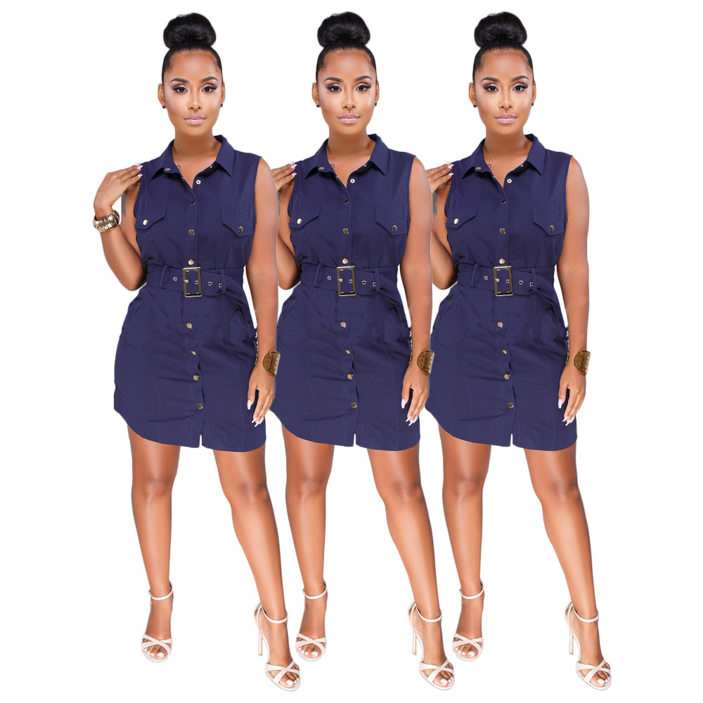 Sleeveless Casual Solid Dress Women Navy Blue Sheath ...